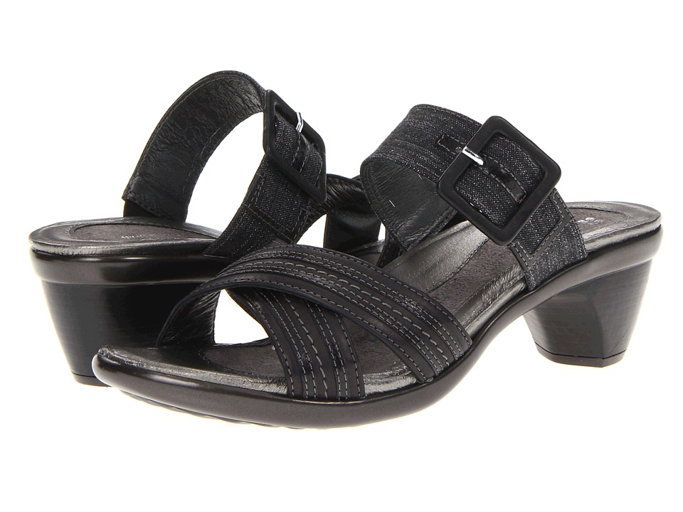 Naot Footwear - Marvel (Brushed Black Leather/Black Summer Tweed/Black Gloss Leather) Women's Sandals