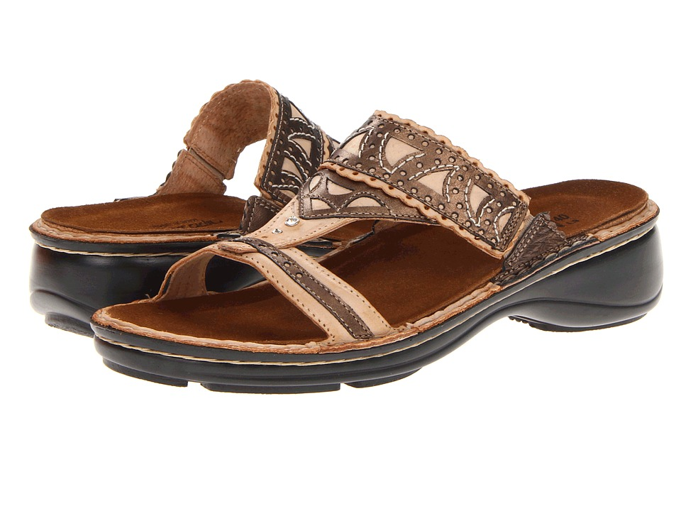 Naot Footwear - Oleander (Biscuit Leather/Brass Leather) Women's Sandals