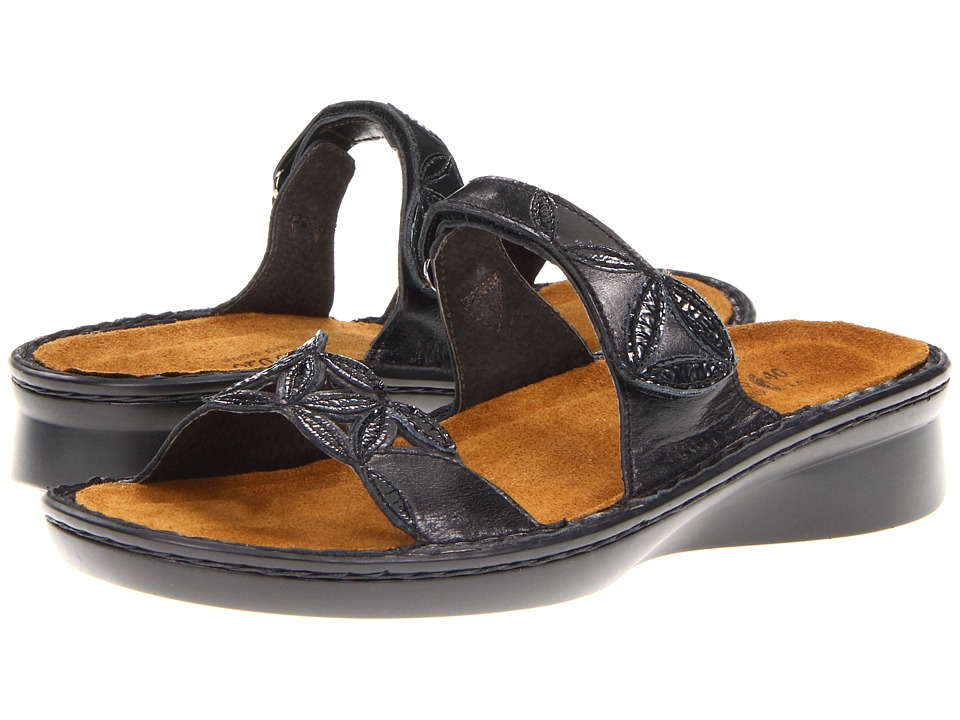Naot Footwear - Mozart (Black Madras Leather/Black Crinkle Patent Leather) Women's Sandals