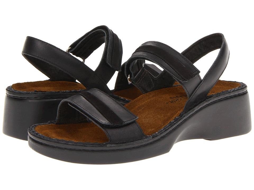 Naot Footwear - Milano (Black Raven Leather/Black Velvet Nubuck/Metallic Road Leather) Women's Sandals