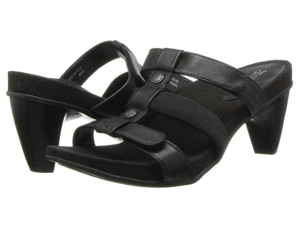 Aetrex - Kayla Adjustable 3 Strap Slide (Black) Women's Shoes