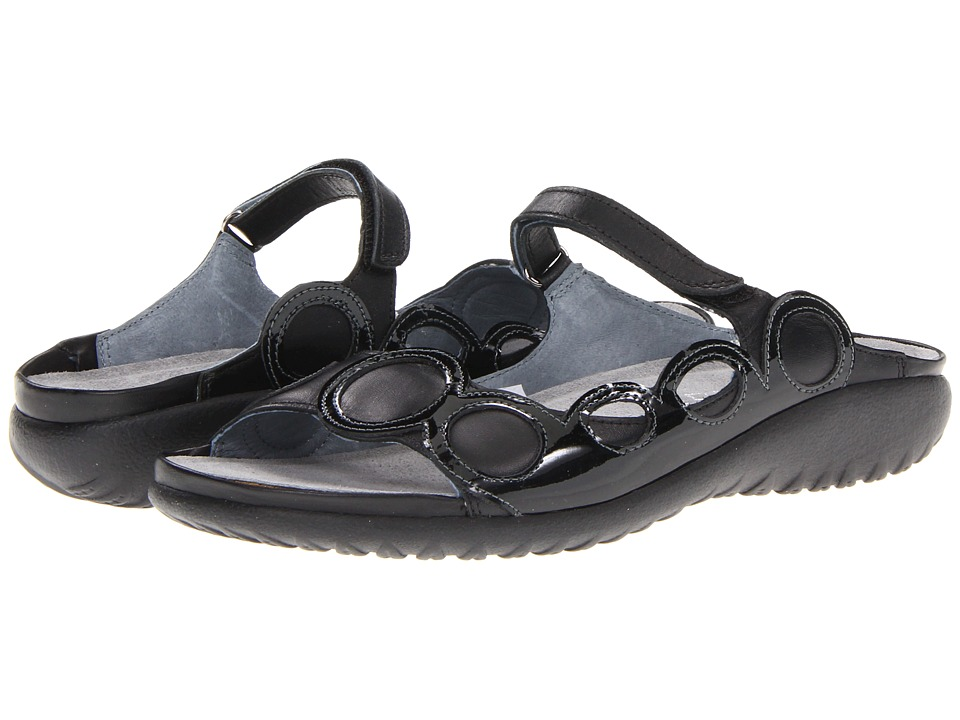 Naot Footwear - Totara (Black Raven Leather/Black Patent Leather) Women