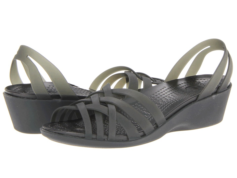 Crocs - Huarache Mini Wedge (Black/Black) Women's Sandals