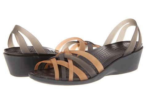 Crocs - Huarache Mini Wedge (Bronze/Espresso) Women's Sandals