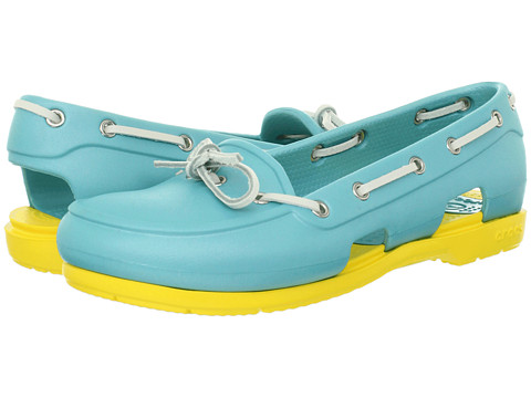 Crocs - Beach Line Boat Shoe (Aqua/Yellow) Women