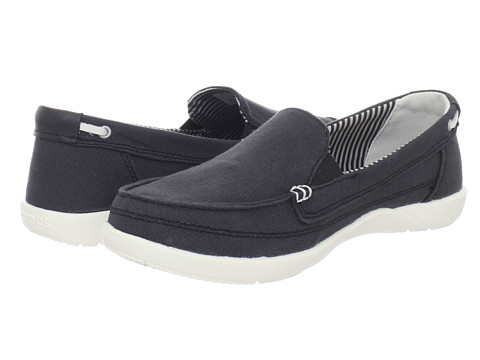 Crocs - Walu Canvas Loafer (Black/Oyster) Women's Slip on Shoes