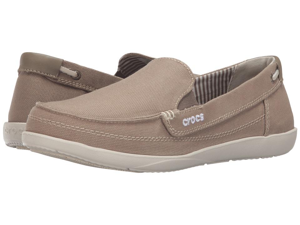 Crocs - Walu Canvas Loafer (Khakki/Stucco) Women's Slip on Shoes