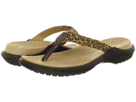 Crocs - Capri Leopard Print Flip (Espresso/Gold) Women's Sandals