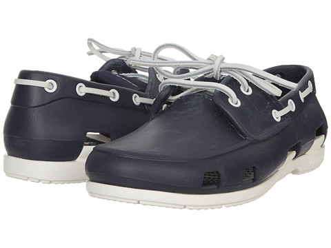 a663bc590 UPC 883503961562 product image for Crocs Beach Line Boat Shoe (Navy White)  Men s ...