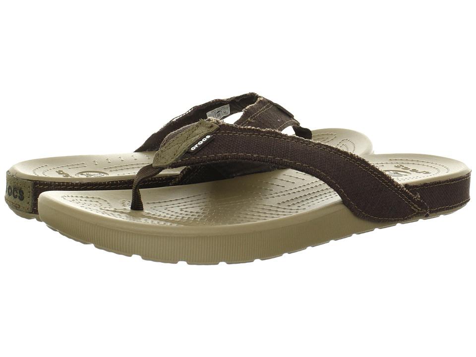 Crocs - Santa Cruz II Flip (Khaki/Espresso) Men