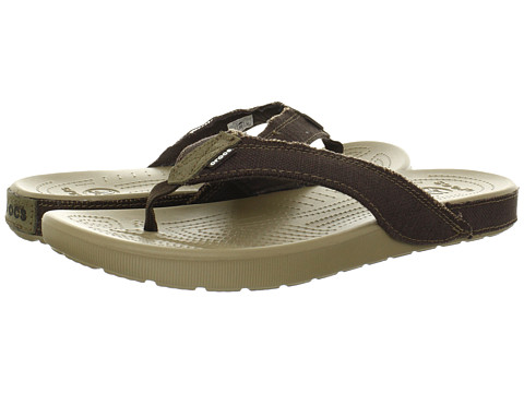 Crocs - Santa Cruz II Flip (Khaki/Espresso) Men's Sandals