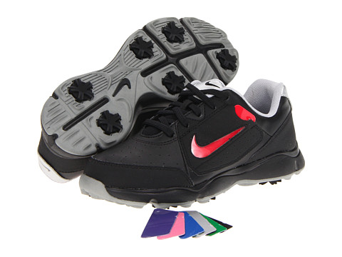 Nike Golf - Remix Jr. (Little Kid/Big Kid) (Black/Black/Metallic Silver) Golf Shoes