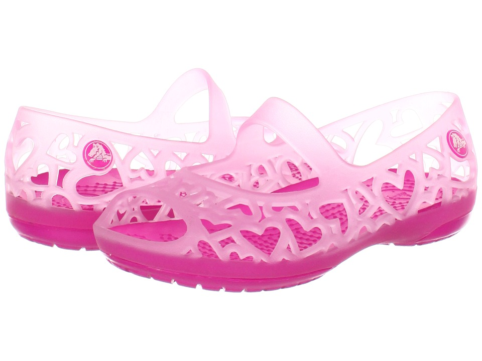 Crocs Kids - Adrina Hearts Flat (Toddler/Little Kid) (Carnation/Neon Magenta) Girl's Shoes
