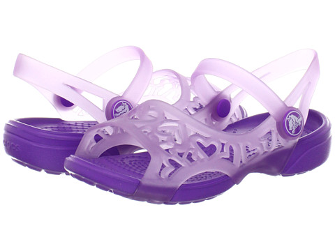 Crocs Kids - Adrina Hearts Sandal (Toddler/Little Kid) (Iris/Neon Purple) Girls Shoes