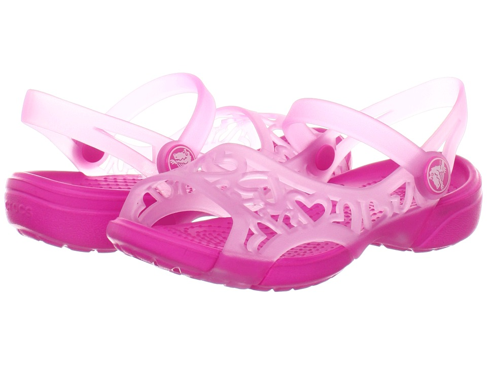 Crocs Kids - Adrina Hearts Sandal (Toddler/Little Kid) (Carnation/Neon Magenta) Girls Shoes