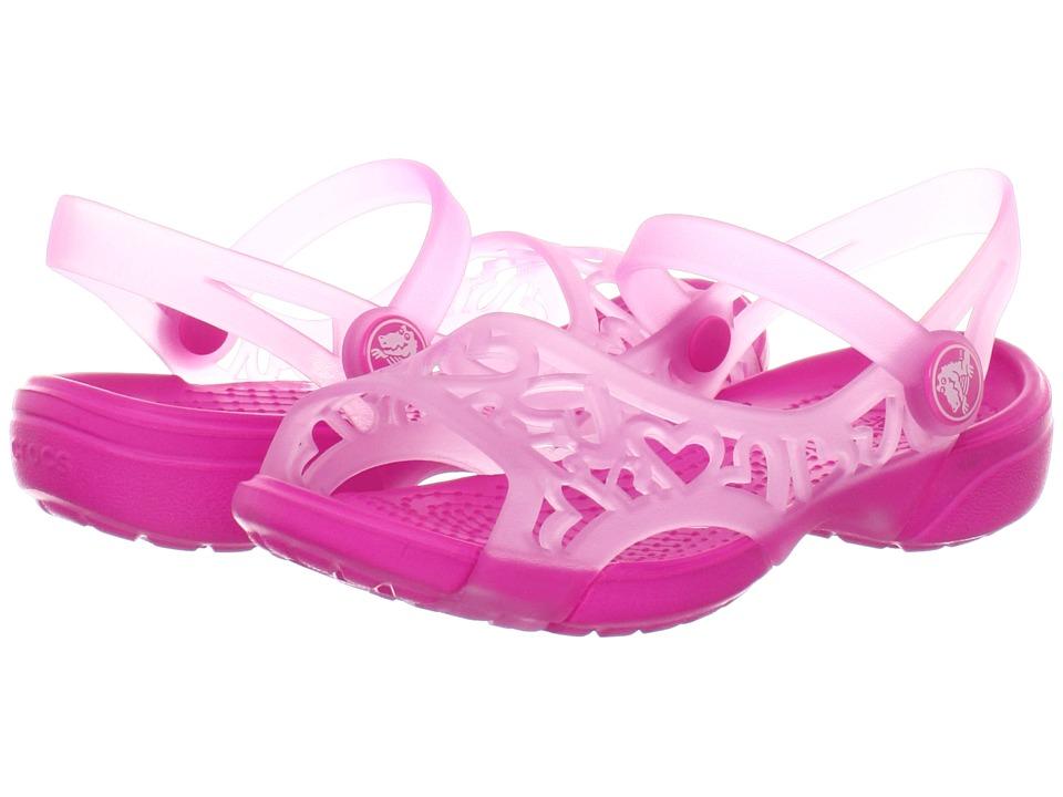 Crocs Kids - Adrina Hearts Sandal (Toddler/Little Kid) (Carnation/Neon Magenta) Girls Shoes
