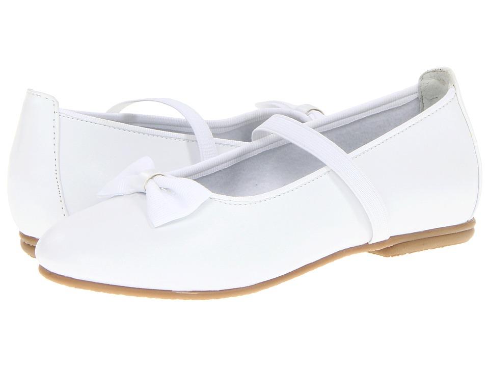 Jumping Jacks Kids - Balleto - Marcy (Toddler/Little Kid/Big Kid) (White Smooth/White Faille Trim) Girls Shoes