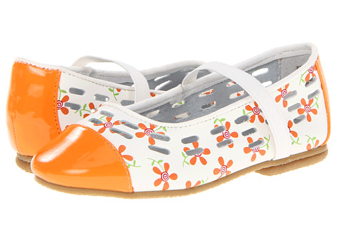 Jumping Jacks Kids - Balleto - Sassy (Toddler/Little Kid/Big Kid) (Orange Shiny/White Orange Fuchsia & Green Trim) Girls Shoes