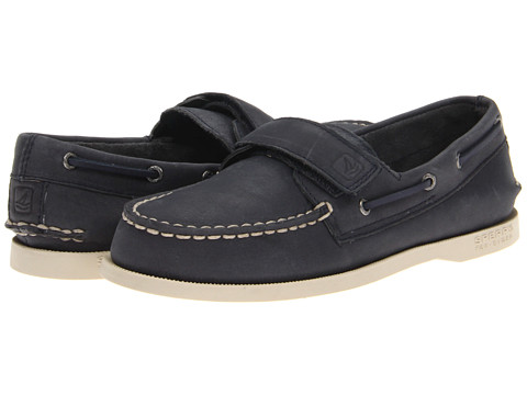 Sperry Top-Sider Kids - Authentic Original - Hook and Loop (Toddler/Little Kid) (Navy Leather) Boys Shoes