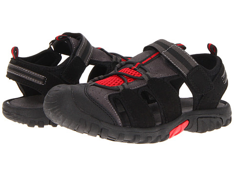 Jumping Jacks Kids - Beachcomber (Toddler/Little Kid) (Charcoal Gray Microsuede/Black Charcoal & Deep Red Trim) Boys Shoes