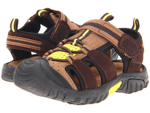 Jumping Jacks Kids - Beachcomber (Toddler/Little Kid) (Chestnut Brown Microsuede/Dark Brown & Yellow Trim) Boys Shoes