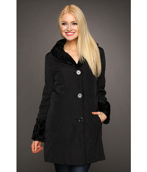 Hilary Radley Studio - Reversible to Faux Fur Storm Single Breasted Coat (Black) Women