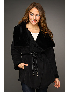 SALE! $109.99 - Save $89 on Hilary Radley Studio Faux Shearling Belted Jacket (Black) Apparel - 44.73% OFF $199.00