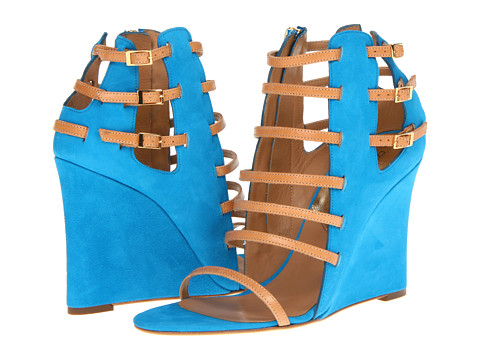 Shop DSQUARED2 online and buy DSQUARED2 S13W205102 34 Wedge Sienna Camoscio Azzurro Shoes - DSQUARED2 - S13W205102 34 Wedge Sienna (Camoscio Azzurro) - Footwear: Completely caged in—cause commotion with these strappy wedge sandals. ; Suede and leather ipper. ; shapely cutouts. ; Adjustable ankle straps with buckled closures. ; Full inside zip closure. ; Leather lining. ; Lightly padded insole. ; Leather outsole. ; Made in Italy and Imported. Measurements: ; Heel Height: 4 in ; Weight: 10 oz ; Circumference: 11 in ; Shaft: 7 1 2 in ; Product measurements were taken using size 39 (US 9), width M. Please note that measurements may vary by size.