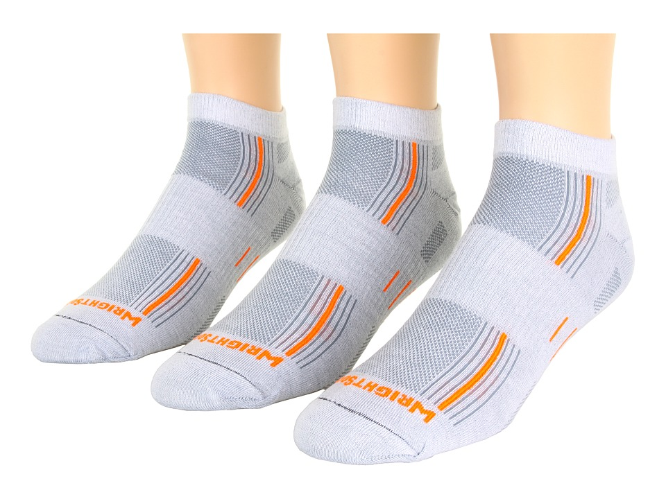 Wrightsock - Stride Lo 3-Pair Pack (Lt Grey/Orange Stripe) Low Cut Socks Shoes