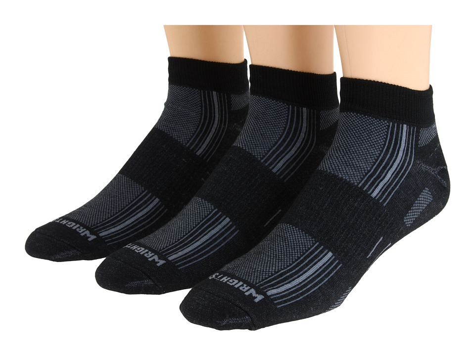 Wrightsock - Stride Lo 3-Pair Pack (Black/Grey Stripe) Low Cut Socks Shoes