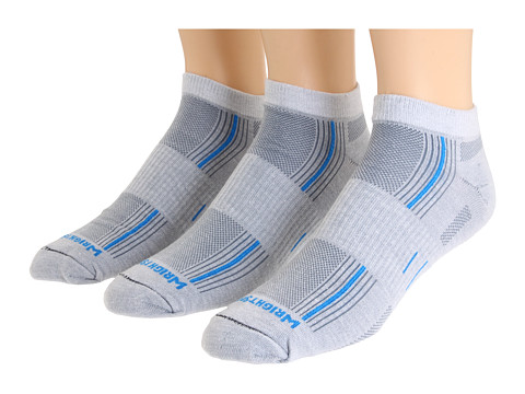 Wrightsock - Stride Lo 3-Pair Pack (Lt Grey/Blue Stripe) Low Cut Socks Shoes