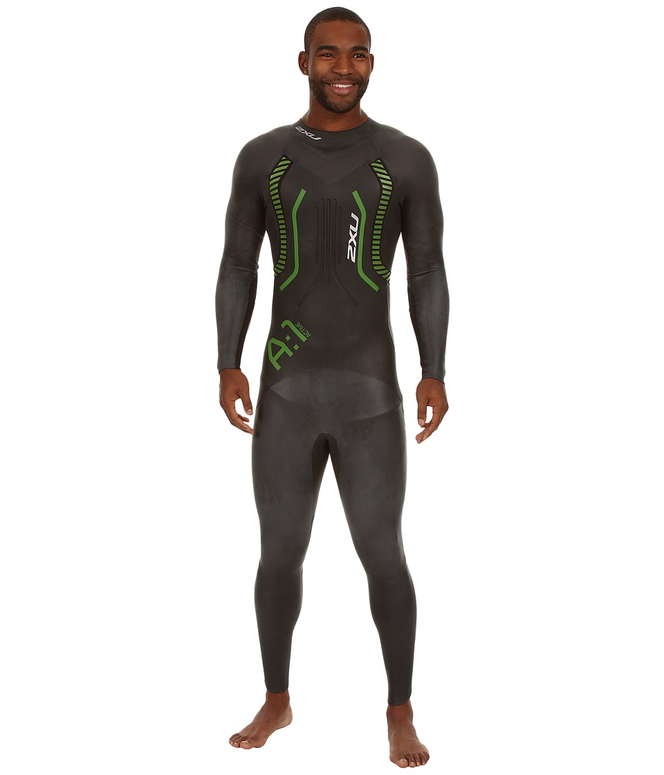 2XU - A:1 Active Wetsuit (Black/Vibrant Green) Men's Wetsuits One Piece