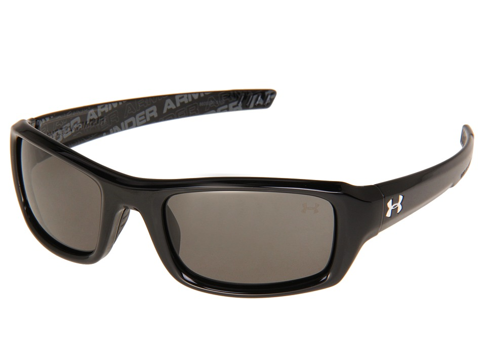 Under Armour - UA Surge (Shiny Black-UA Wordmark Interior/Gray) Athletic Performance Sport Sunglasses