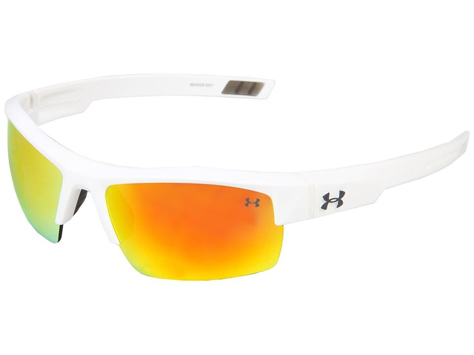 Under Armour - UA Igniter (Shiny White/Gray Orange Multiflection) Athletic Performance Sport Sunglasses