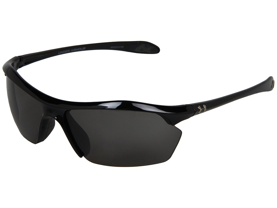 Under Armour - Zone XL (Shiny Black/Gray) Athletic Performance Sport Sunglasses