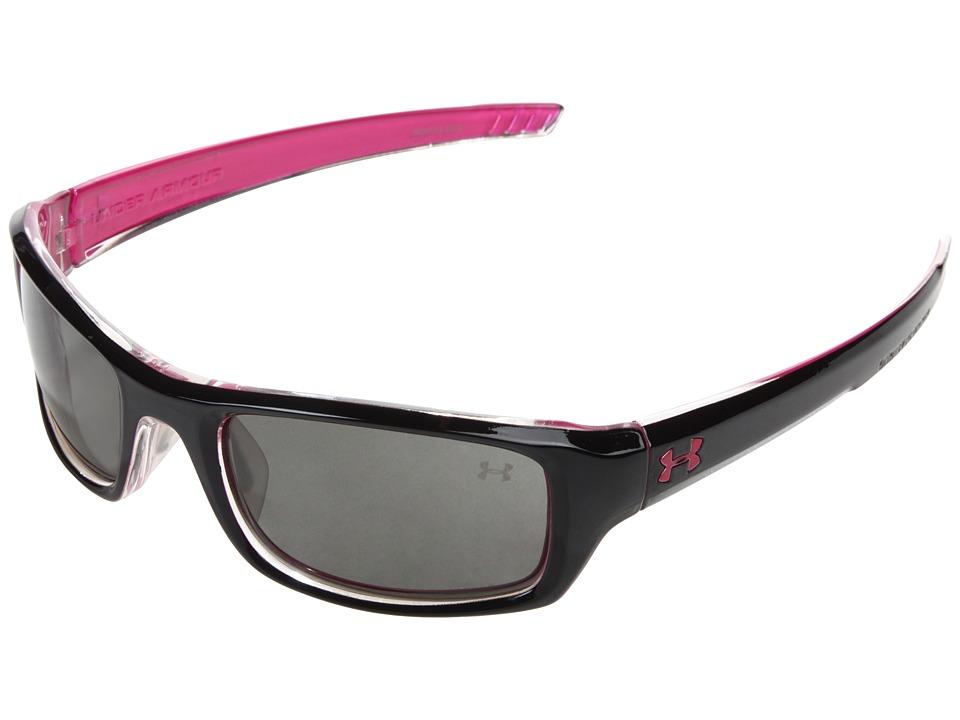 Under Armour - UA Surge (Shiny Black-Magenta BS/Gray) Athletic Performance Sport Sunglasses