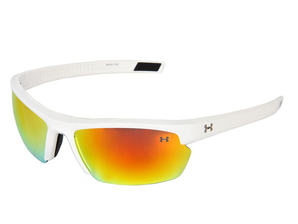 Under Armour - UA Stride XL (Shiny White/Gray Orange Multiflection) Athletic Performance Sport Sunglasses