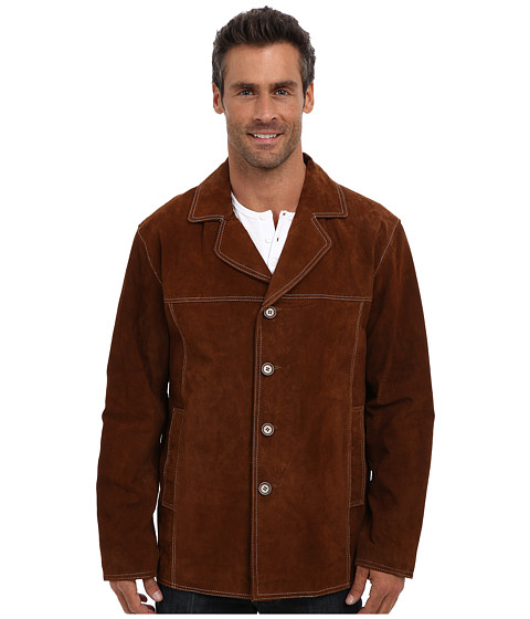 Scully - Light Weight Suede Car Coat (Cinnamon) Men's Jacket