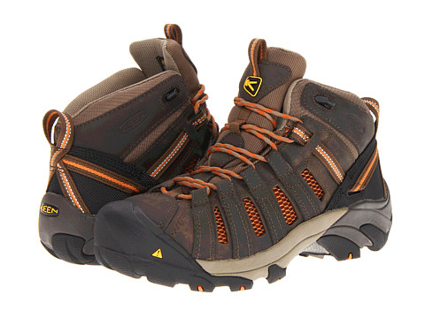 Keen Utility - Flint Mid (Shitake/Burnt Orange) Women's Work Lace-up Boots