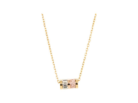 Michael Kors - Brilliance Pave Barrel Pendant Necklace (Gold/Rose Gold) Necklace