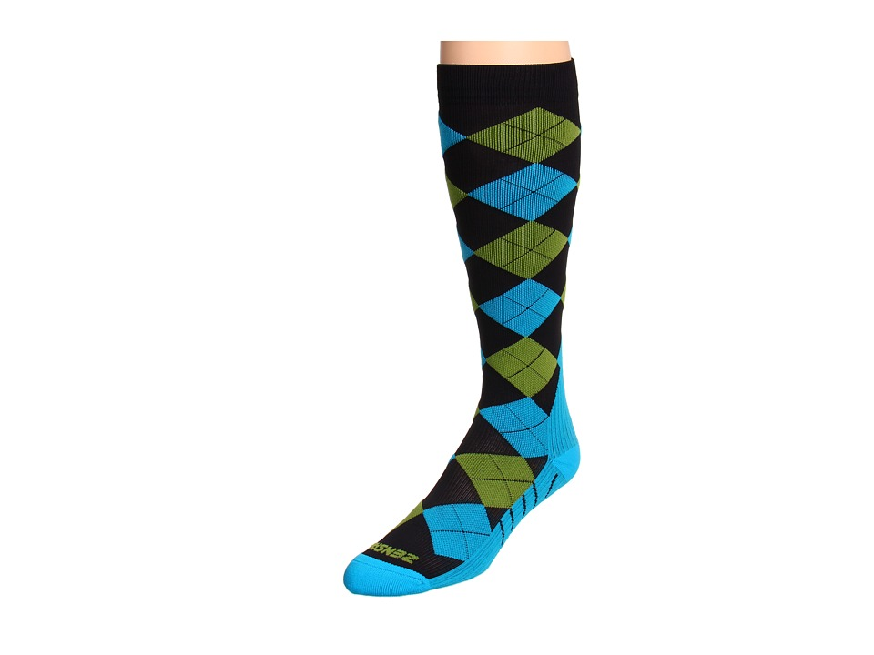Zensah - Argyle Compression Socks (Black/Turquoise/Green) Crew Cut Socks Shoes