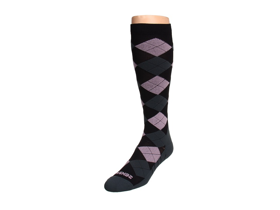 Zensah - Argyle Compression Socks (Black/Grey/Pink) Crew Cut Socks Shoes