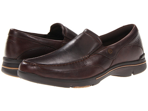 Rockport - Eberdon (Dark Brown Leather) Men's Slip on Shoes
