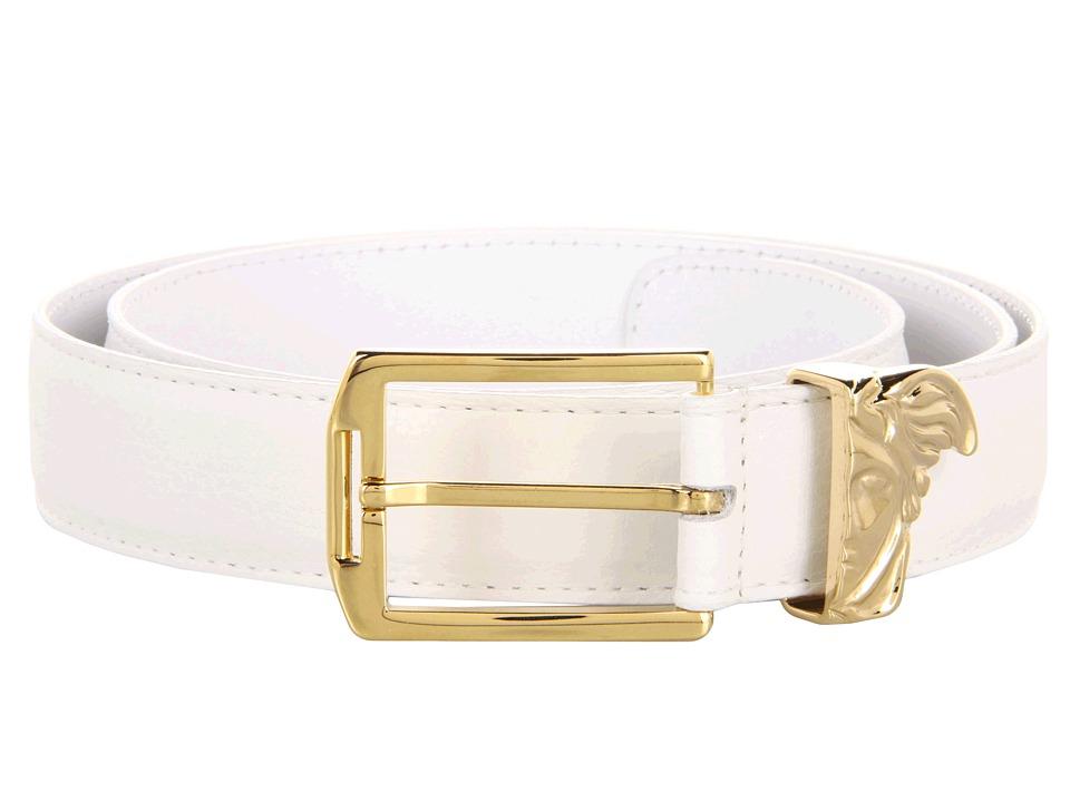Versace Collection - Printed Elk Gold Medusa Buckle Belt (White) Men's Belts