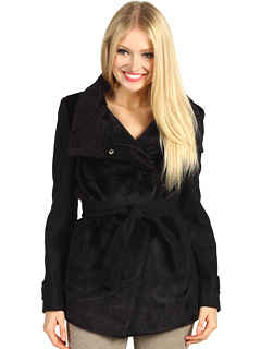 SALE! $149.99 - Save $210 on Betsey Johnson Mixed Media Jacket w Faux Fur (Black) Apparel - 58.34% OFF $360.00