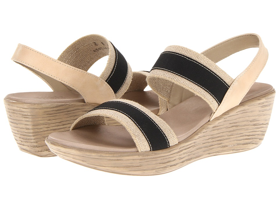 Munro American - Reed (Black/Natural Fabric) Women's Wedge Shoes