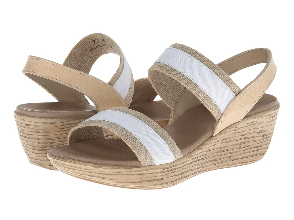Munro - Reed (White/Natural Fabric) Women's Wedge Shoes