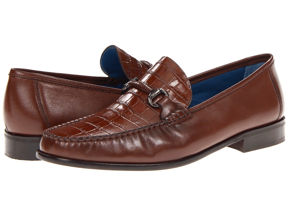 Florsheim - Sarasota Bit (Cognac Smooth/Croco Print) Men's Slip-on Dress Shoes