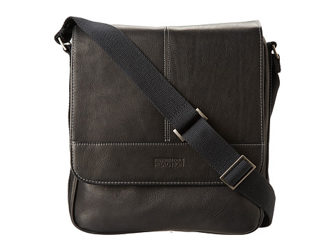 Kenneth Cole Reaction Columbian Leather Vertical Flapover Tablet Case (Black) Messenger Bags