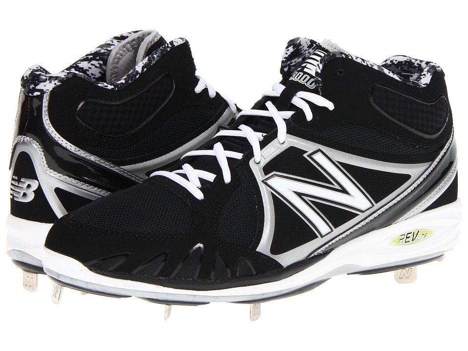 New Balance - MB3000 Metal Mid-Cut Cleat (Black/Silver) Men's Cleated Shoes